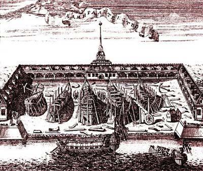 Адмиралтейство на гравюре 1716 года