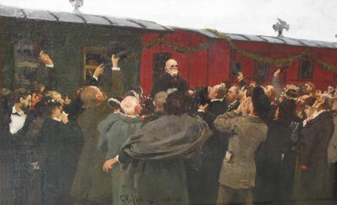 Эскиз художника И. Е. Репина к его картине Приезд Николая Ивановича Пирогова в Москву